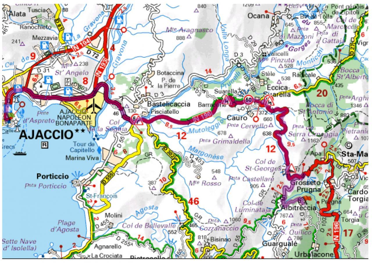 Carte Michelin Corse.Situation Geographique Du Village Et De La Maison D Albitreccia